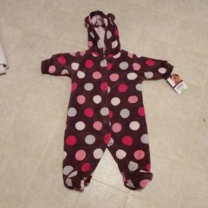 Infant fuzzy parm Carter's polkadot 3 month winter